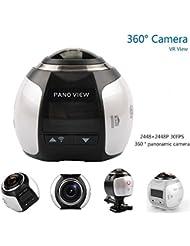 OTHA Caméra vidéo panoramique à 360 degrés 4K Résolution 2448 2448 30fps Caméra d'action VR Waterproof Wifi Cam Sport (Blanc)