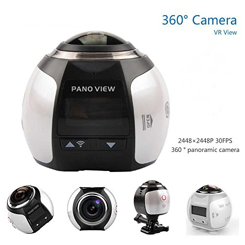 OTHA 4K 360 Cámara de Acción 2448 * 2448 Ultra HD Panorámica 360 Degree de Vídeo Wifi Cámara Deportivas Conducción VR, Pantalla de 3.2 Inches, Color Blanco