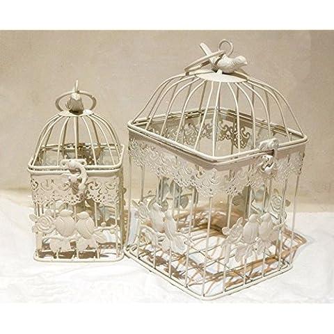 Par las jaulas de pájaros Shabby Chic vintage cuadrada 23 cm