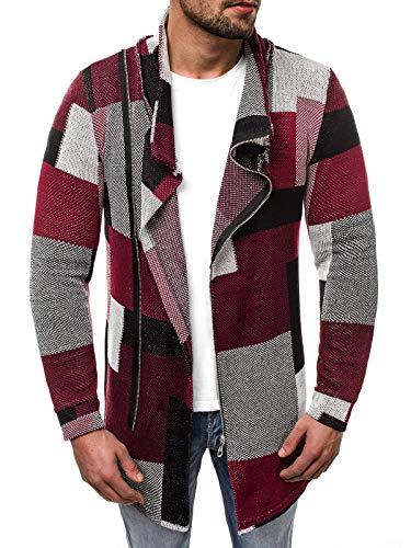 OZONEE Herren Pullover Lange Strickjacke Kapuzenpullover Strickpullover Arbeitspullover Sweater Sweatshirt 777/630SW ROT S