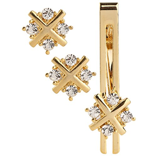 Tripin gold unique shaped cufflink set with diamonds crystals with matching tie...