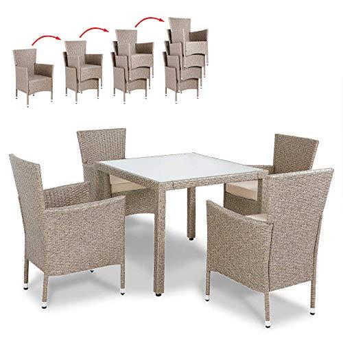 Deuba Conjunto de jardín de Poliratán Crema 4 sillas con cojínes y una mesa resistente para su jardín...