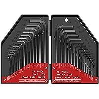 E·Durable Llaves Allen, juego de llaves allen 30pcs Llave hexagonal larga y corta para desmontar e instale la mayoría de los tornillos hexagonales interiores en automóviles muebles,equipos, etc.