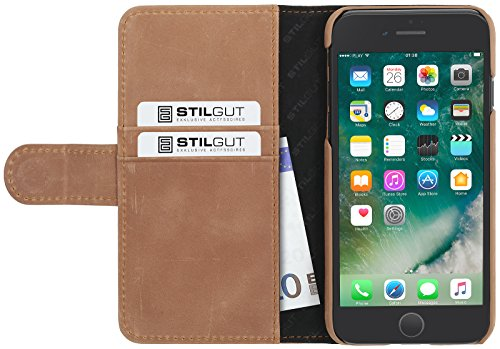 StilGut Talis Case con tasca per carte , custodia in pelle cover per iPhone 7 & iPhone 8 (4,7). Chiusura a libro Flip-Case in vera pelle lavorata a mano, Blu Scuro Nappa Cognac Vintage