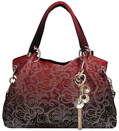 Coofit Damen Handtasche Umhängetasche Mode Tasche Jahrgang Schultertasche Geldbörse für Frauen (Rote Handtasche)