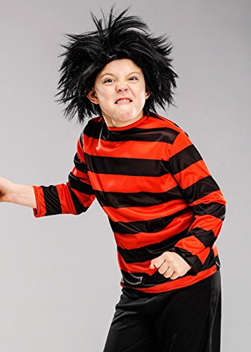 Buch Klassischen Charaktere Kostüm Kinder - 8in1 Jungen rot und schwarz gestreift Dennis Top Medium (7-9 Years)