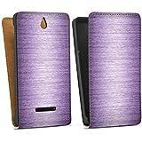 Sony Xperia E Tasche Hülle Flip Case Metal Look Lavender Metall Lila