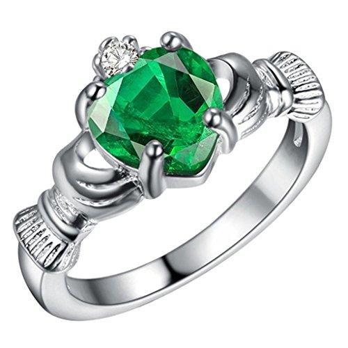 Adisaer Sterling Silber Ringe Claddagh Ring Verlobungsring Damenring Diamant Grün Bandring mit Stein Größe 52 (16.6) (Irische Claddagh Ringe)