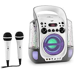Auna Kara Liquida • chaîne karaoké pour Enfants • 2 Microphones • Lecteur CD+G • Port USB • MP3 Compatible • Effet écho • Fonction A.V.C. • Effets lumière LED • 2 fontaines d'eau LED • Blanc