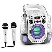auna Kara Liquida • Kinder Karaoke Anlage • Karaoke Player • Karaoke Set • 2 x dynamisches Mikrofon • CD+G-Player • USB • MP3-fähig • Video-Ausgang • LED-Lichteffekt • Wasserfontänen • schwarz