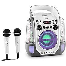 auna Kara Liquida equipo de karaoke portátil (chorro de agua, reproductor CD, puerto USB, lector MP3, 2 micrófonos) - blanco negro