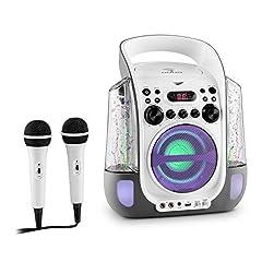 Idea Regalo - auna Kara Liquida Impianto Karaoke con effetti luce e d'acqua, lettore CD e 2 microfoni portatili inclusi (Porta USB MP3, Uscita video, Effetto Echo) - bianco