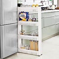 Taylor & Brown® 4 Tier Slim Slide Out Kitchen Bathroom Trolley Rack Holder Storage Shelf Organiser on Wheels