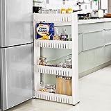 Taylor & Brown® fin coulissant de cuisine Desserte de salle de bains Rack support étagère de rangement organiseur sur roulettes, Plastique, 4 Tier