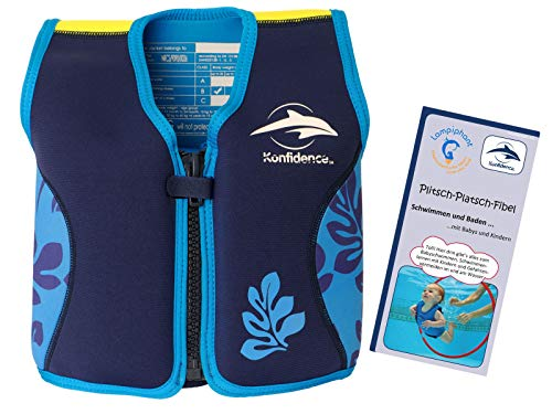 Lampiphant® + Original Konfidence Kinder-Schwimmweste aus Neopren, 1,5-3 Jahre, Blaue Blätter, mit Plitsch-Platsch-Fibel