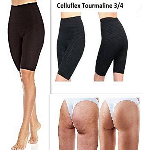 Leggings Celluflex modellanti e dimagranti, 3/4 lunghi fino al ginocchio, in tessuto traspirante, con tormalina, anti-cellulite, taglia M