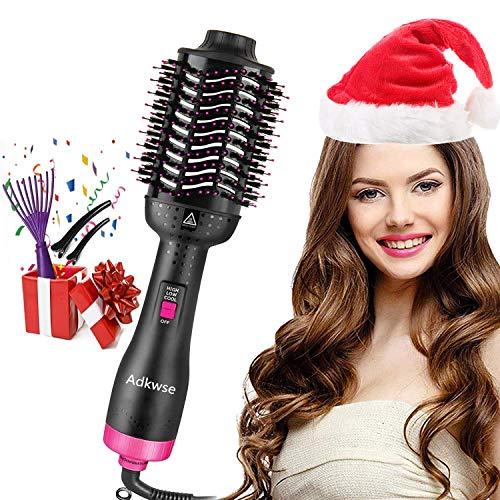 Adkwse Haartrockner, 5 IN 1 Warmluftbürste Multifunktionaler Heißluftkamm One-Step Heißluftbürste & Volumizer Styler Negativer Lonenfön Volumenbürste Haarglätter Bürste für Alle Haartypen -