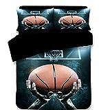 JLU Sport Stil Bettbezug Basketball Fußball Kochgeschirr Fußball Bettwäsche-Set 3 Stück