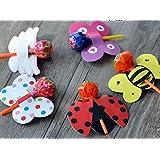 10 piezas de bricolaje Lollipop Stick papel decoracion - abeja escarabajo Polka Dots Pattern Random accesorios para el hogar