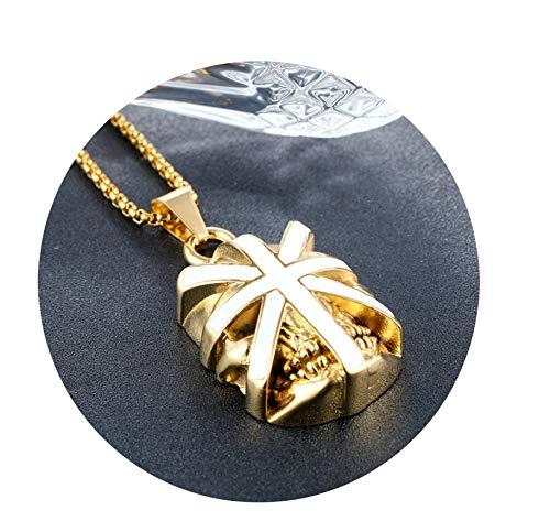Epinki Collar para Hombre de Acero Inoxidable, Cráneo Forma Acero Inoxidable Colgante Cadenas Asociadas