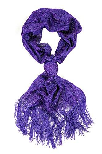 NYFASHION101 Foulard versatile à fils éclat brillant à embouts effilochés Violet