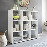 Wohnling Design Bücherregal Zara mit 9 Fächern Weiß 108 x 104 x 29 cm | Standregal Holz Regal freistehend | Ordnerregal Raumteiler Würfel-Regal modern | Offenes Aufbewahrungsregal
