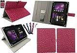emartbuy 5 Eingabestift+Universal FauxVeloursleder Leopard Hot Rosa Folio Wallet Tasche Etui Hülle Schutzhülle mit Kartensteckplätze Geeignet für i.onik Tablet PC TP9.7-1500DC Ultra 9.(7 Zoll)