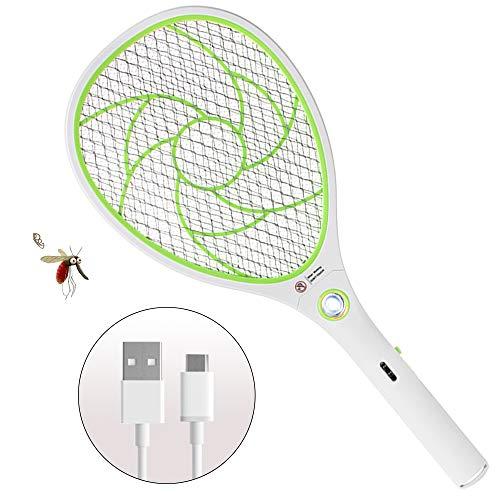 ZOMAKE Elektrische Fliegenklatsche Fliegenfänger Moskito Zapper, Insekten Mörder - USB Wiederaufladbar - 3000 Volt - Doppelte Schichten Mesh Schutz (Gelb)