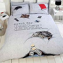 Just Contempo 5055929841871 - Juego de funda de edredón (135 x 200 cm) y funda de almohada (50 x 75 cm), 52% poliéster y 48% algodón, color gris