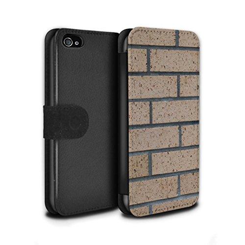 Stuff4 Coque/Etui/Housse Cuir PU Case/Cover pour Apple iPhone 4/4S / Peints/Gris Design / Maçonnerie Collection Nouvelle/Jaune
