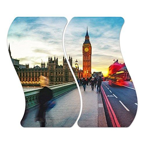 herdabdeckplatten di vetro decorativo 'Westminster Bridge in Vetro M. Noppen, altezza e in due parti, vetroceramica, tagliere, Paraspruzzi, Vassoi, la parete della cucina, Zweiteilig Welle