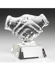"""4,25""""cristal apretón de manos premio trofeo con grabado hasta 30letras con presentación caja JR19-JB500"""