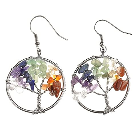 JOVIVI Women Copper Wire Wrap Gemstone Crystal Quartz Chip Bead Tree Of Life Hook Earrings Gift