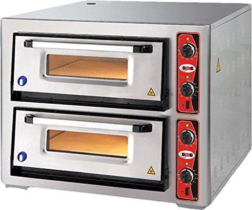 GMG Profi Pizzaofen CLASSIC PF 6262 DE für Gastronomie, 2 Backkammern / Doppelkammer dual - 4 + 4 x Ø 30 cm Pizzen - 62x62x15cm, bis zu 450°C (Ober- und Unterhitze getrennt regelbar), 10.000 Watt