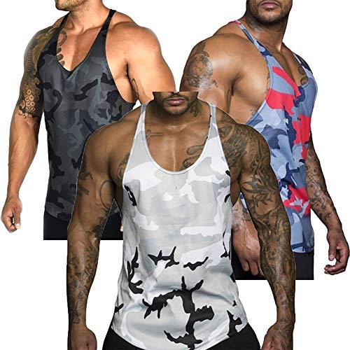 Herren Gymnastik Muscle Weste Floral Camouflage Low Cut Bodybuilding-Trägershirt Technischer Stringer Sport Ärmelloses T-Shirt Fitness Übung Laufen Slim Fit Outfit Tops M-3XL (L, schwarz)