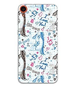 PrintVisa Designer Back Case Cover for HTC Desire 820 :: HTC Desire 820 Dual Sim :: HTC Desire 820S Dual Sim :: HTC Desire 820Q Dual Sim :: HTC Desire 820G+ Dual Sim (Couple Kissing Images All Over)