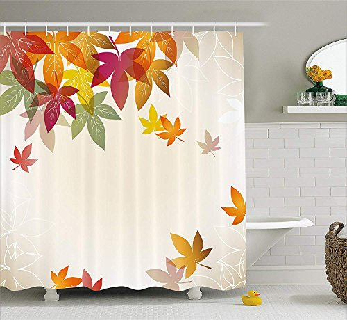 JIEKEIO Fall Decorations Shower Curtain, Silhouettes of Maple Tree Leaves in Pastel Classical Shady Nature Graphic Image, Fabric Bathroom Decor Set with Hooks, 60 * 72inchs Long, Multi 80 S Pastel