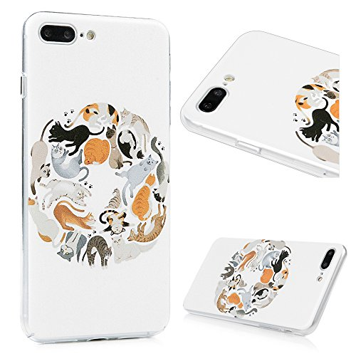 YOKIRIN iPhone 7 Hülle iphone 7 PC Hard Case Cover Bunt Painted Gemalt Transparent Rand Schutzhülle Handy Case Hartschale Skin Muster:Elefant Tier