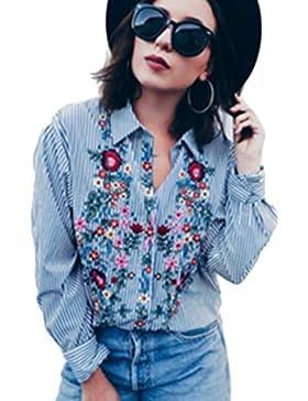 Las Mujeres De Manga Larga Camisa Bordada Blusa Rayas Floral Print Top