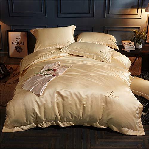 YUNSW Bettbezug Einfarbig Satin Seide Königin König Advanced Home Hotel Bett Weich Qualifiziert Komfortabel C 220x240cm