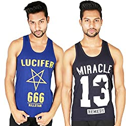 White Moon Cotton Printed Gym vest 2000 (L) Pack of 2