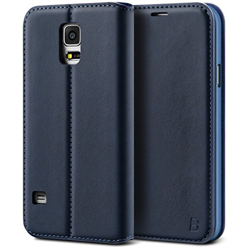 BEZ Cover Samsung S5/ S5 NEO, Custodia Compatibile per Samsung Galaxy S5/ S5 NEO, Protettiva Portafoglio in Pelle Con Porta Carta di Credito, Kick Stand - Blu navy
