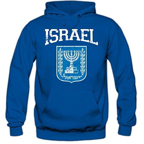 Shirt Happenz Israel Emblem Hoodie Vorderasien Olivenzweig Jerusalem Herren-Kapuzenpullover, Farbe:Blau (Royalblue F421);Größe:XL