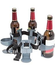 Relaxdays Biergürtel für 6 Flaschen oder Dosen - Almacenamiento de agua, color gris, talla 90 x 6 x 10.5 cm