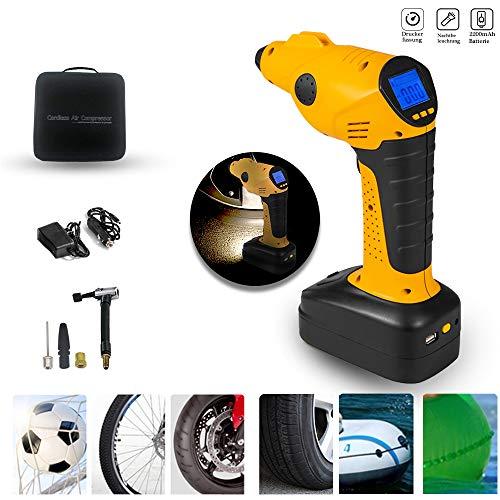 Aufun Auto Luftpumpe Elektrischer Kompressor mit Akku 12V Luftkompressor Tragbare Reifenpumpe LCD Display Digital Manometer Ink. 3 Ventil-Aufsätzen, Wiederaufladbare Beleuchtungssockel