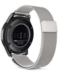 MoKo Samsung Gear S3 Frontier / Classic / Moto 360 2nd Gen 46mm Watch Armband - Edelstahl Milanese Magnet Uhr Band Strap Uhrenarmband Replacement für Samsung Gear S3 Classic Samrtwatch, Silber (Nicht für Gear S2 Classic)