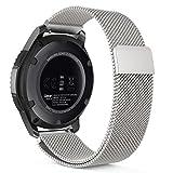 MoKo Bracelet 46mm de Samsung Gear S3 en acier inoxydable un Replacement de Bracelet Milanais pour Samsung Gear S3 Frontier/ S3 Classic / Moto 360 2nd Gen 46mm Smartwatch, Agrent (Pas Compatible avec S2, S2 classic, Fit2)