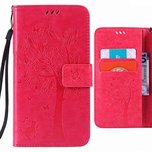 Ougger Handyhülle für Samsung Galaxy Grand Neo Plus (i9060) Hülle Tasche, Baum Katze Druck BriefHülle Tasche Schale Schutzhülle Leder Weich Magnetisch Stehen Silikon Cover mit Kartenslot (Rose Rot)