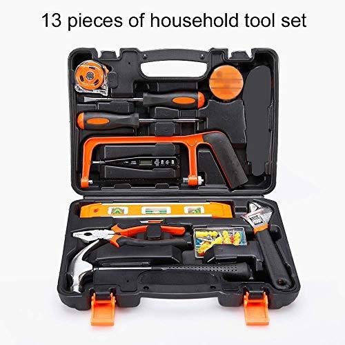 Sdfg Hauptreparatur-Werkzeug-Sätze, 13-teilige allgemeine Haushalts-Handwerkzeug-Ausrüstungen mit Plastikwerkzeugkasten-Speicher-Fall