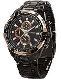 Goldene Ring Herren Uhr Analog Quarzuhr Edelstahl schwarz Armbanduhr + Geschenkbox